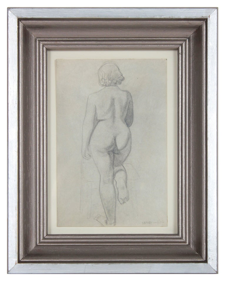 Meditation on a Female Nude from Behind 1920-30s Graphite - Art by Clyde F. Seavey Sr.