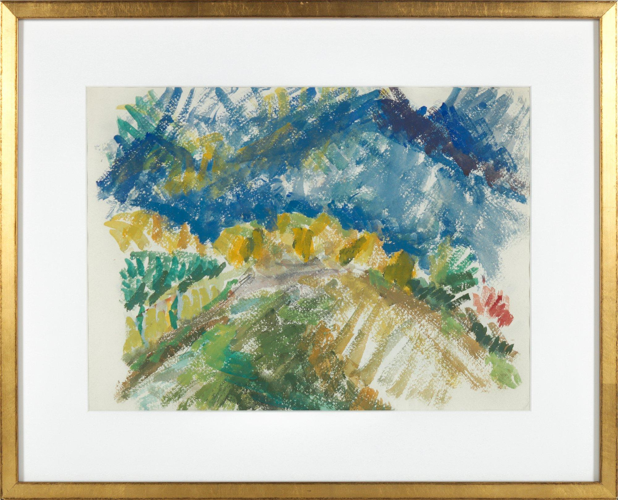 Expressive Landscape with Mountains Early-Mid 20th Century Watercolor