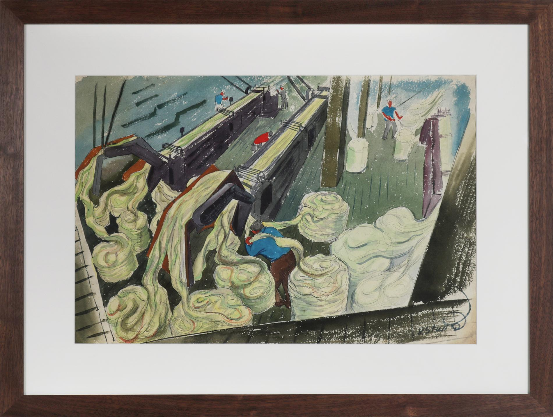 Mid Century Scene of Manufacturing Paper (from Hemp) Watercolor, WPA Art