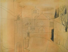 Assisi - 20th Century, Drawing on prepared card by Ben Nicholson