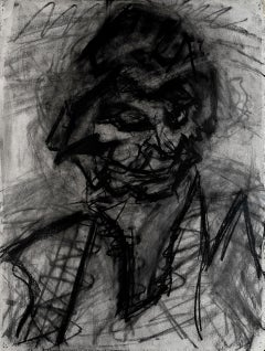 Head of JYM III - 20th Century, Chalk and charcoal on paper by Frank Auerbach