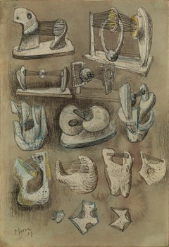 Fourteen Ideas for Sculpture - 20th Century, Watercolour on paper by Henry Moore