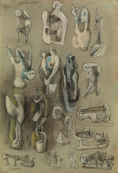 Eighteen Ideas for Sculpture - 20th Century, Watercolour on paper by Henry Moore
