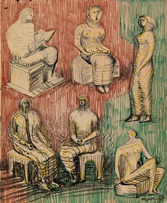 Standing and Seated Figures - 20th Century, Crayon & ink on paper by Henry Moore