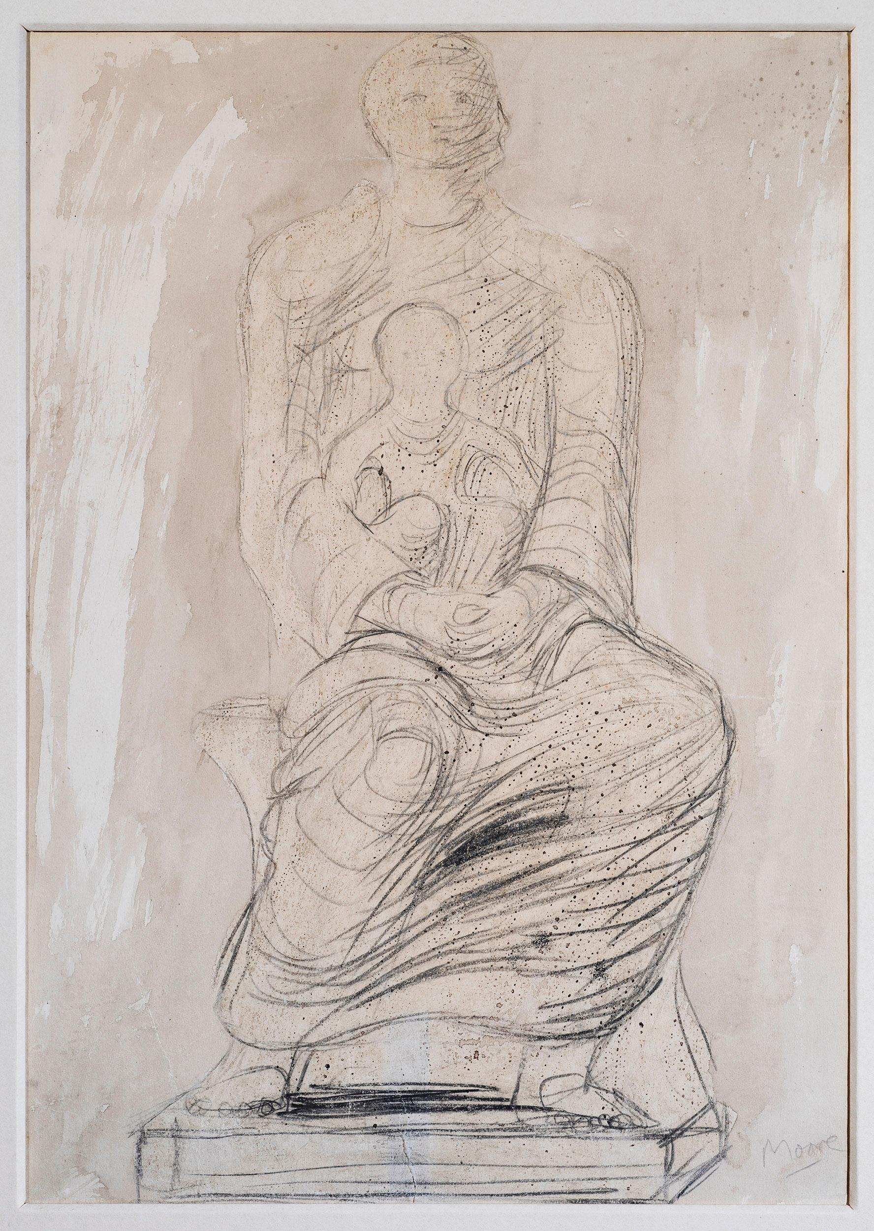 Study of Madonna & Child - 20th Century, Wash & pencil on paper by Henry Moore