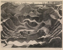 Mine Crater (Hill 60) - 20th Century, Lithograph by Paul Nash