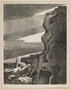German Double Pill-Box - 20th Century, Lithograph by Paul Nash