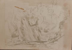 """""""Study of Landscape With Cliff and Trees"""" Graphite/Paper American PreRaphaelite"""