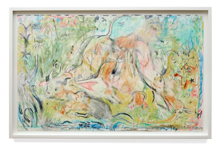 Cecily Brown Abstract Drawing - Untitled (The Calls of the Hunting Hom)