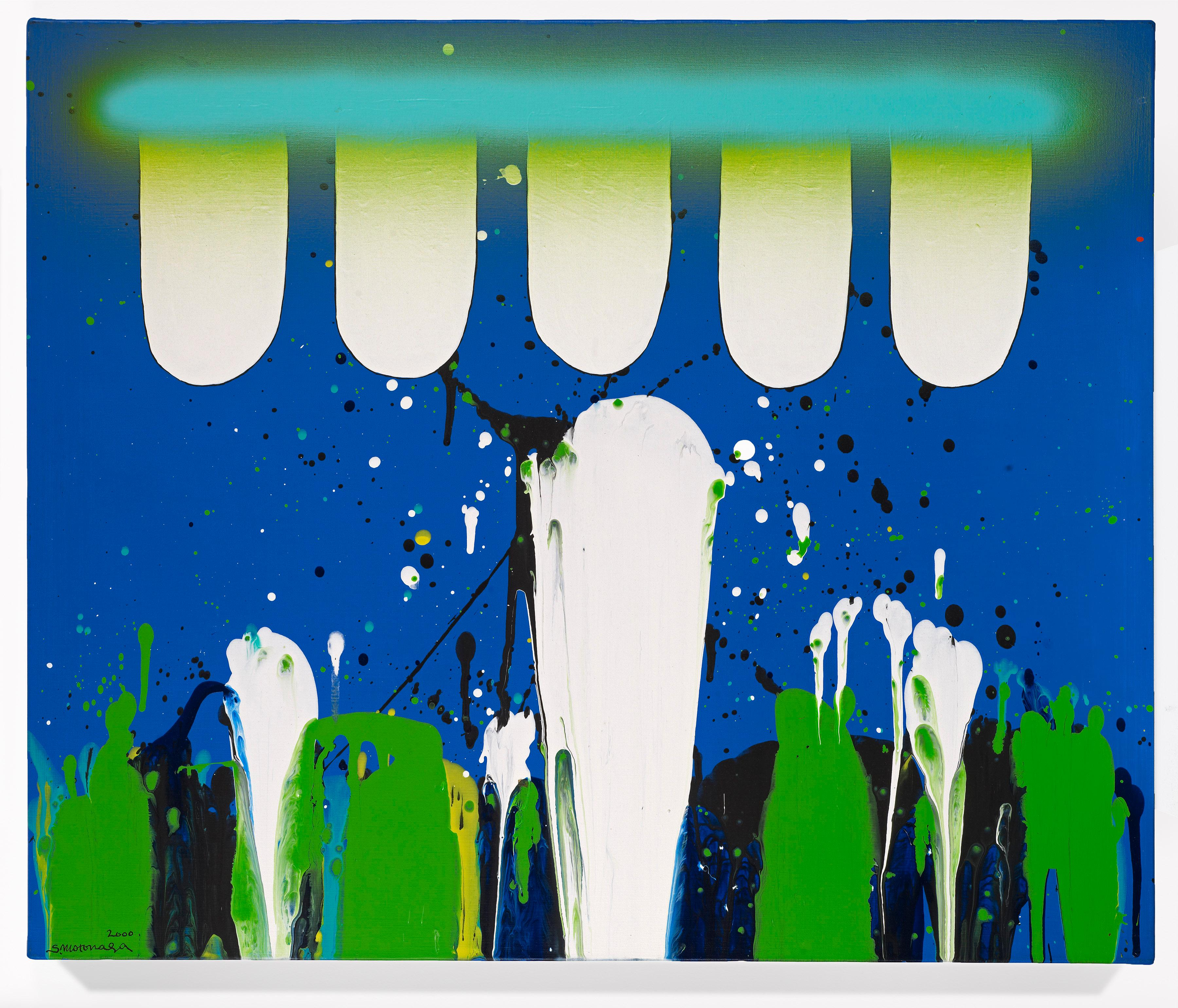"""White Blue Green"" original painting by Japanese Gutai artist Motonaga"