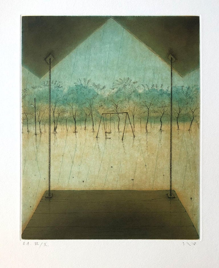 Signed artist proof, VII/X. Image of a swingset in a rainy landscape. Shiraishi's prints often have a dreamy or surrealistic feeling.  Mitsuo Shiraishi is a Japanese painter and printmaker. He was born in Tokyo in 1969, but now works and lives in