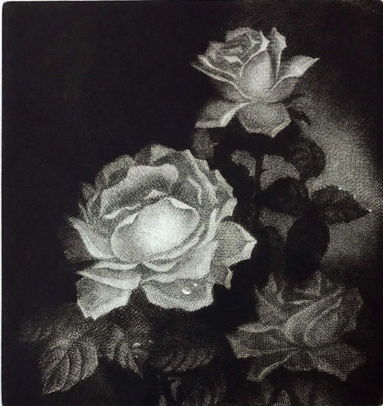 Signed, titled and numbered in pencil from the edition of 40. Atmospheric mezzotint still life of two roses.  Marina Lazareva was born in Moscow in 1961. She is a member of Union of Arts of Russia and of the International Mezzotint Society. She