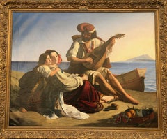 Mandolin Player with Family on the Gulf of Naples, Mt. Vesuvius