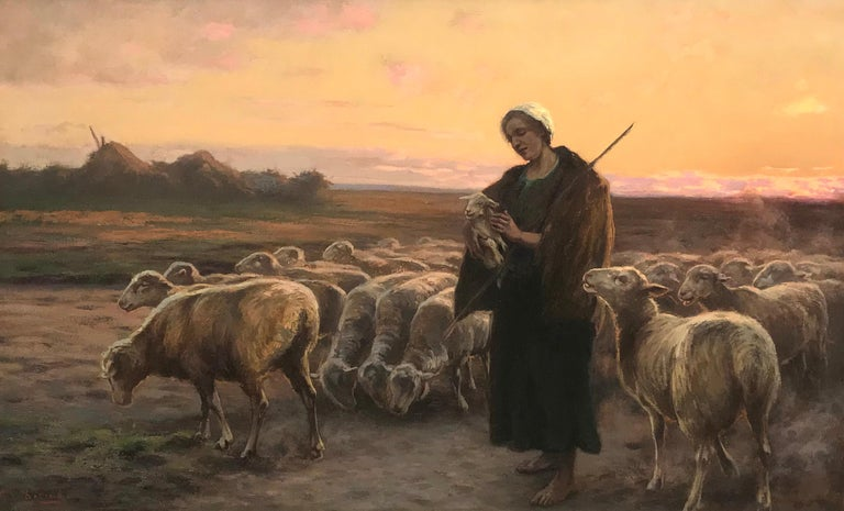 The Shepherdess With Her Flock, Original Oil on Canvas Painting - Brown Landscape Painting by Gustav Doring