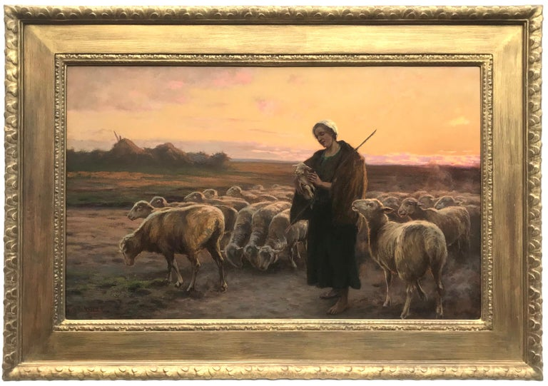 Gustav Doring Landscape Painting - The Shepherdess With Her Flock, Original Oil on Canvas Painting