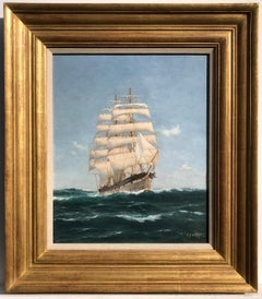 Clipper at Sail - Running with the Wind, Marine Oil on Canvas Painting