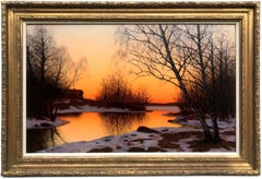 Winter Sunset, Oil on Canvas Painting