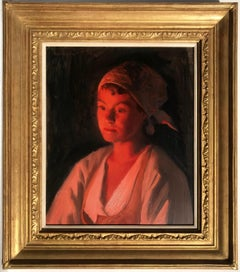 Portrait of a young Swedish woman, bathed in warm firelight, Oil on Panel