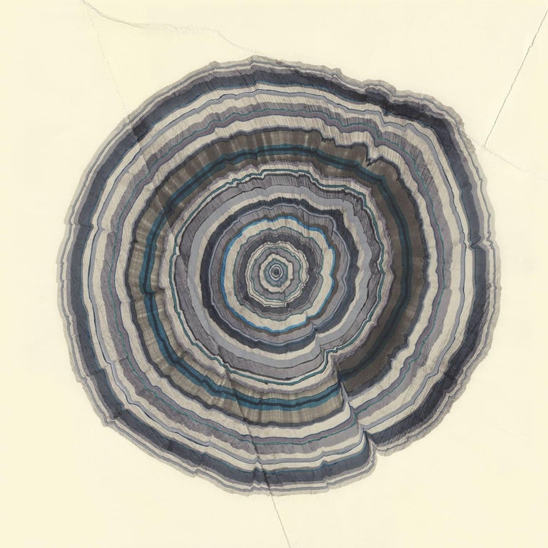 Steven L. Anderson 36 Years, 2015 marker and pen on paper 8 x 8 inches  The Tree Rings artworks are made on paper which is torn and reassembled, scratched, and sanded. From there, they are built in perhaps the same way that trees grow: starting in