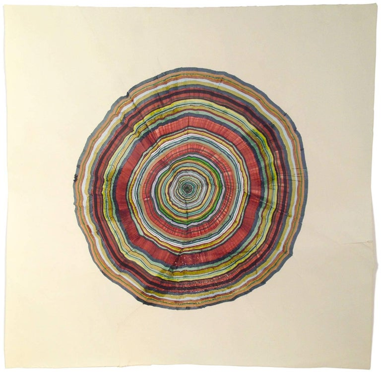 Steven L. Anderson 46 Years, 2015 marker and pen on paper 9.5 x 7.5 inches  The Tree Rings artworks are made on paper which is torn and reassembled, scratched, and sanded. From there, they are built in perhaps the same way that trees grow: starting