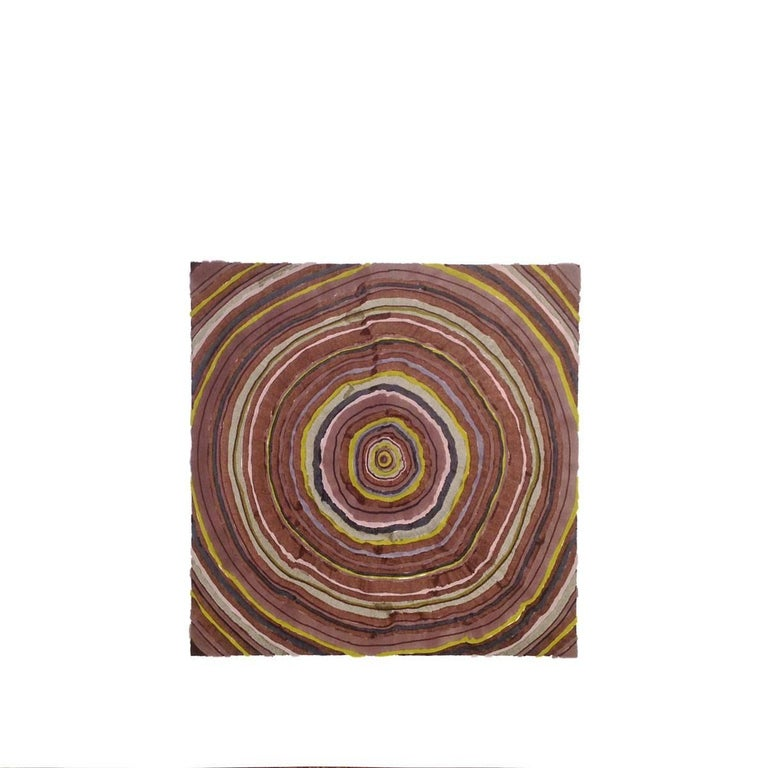 Steven L. Anderson 162 Years, 2015 marker and pen on paper 60 x 60 inches  The Tree Rings artworks are made on paper which is torn and reassembled, scratched, and sanded. From there, they are built in perhaps the same way that trees grow: starting