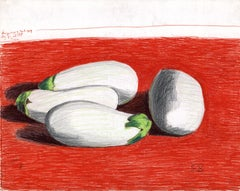 White Eggplant on Red Table