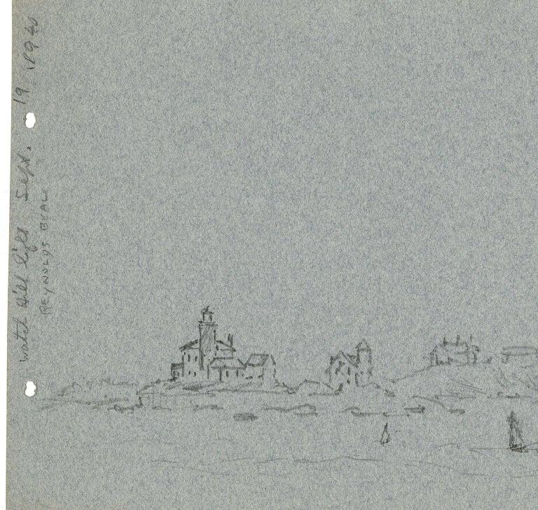 Watch Hill Light. Sept. 19, 1940. - Gray Landscape Art by Reynolds Beal