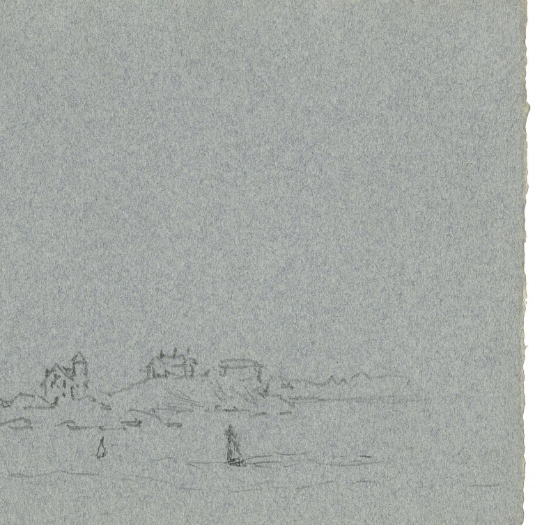 """Reynolds Beal created the 1940 drawing entitled """"WATCH HILL LIGHT"""" on a sheet of heathered blue-gray paper.  The paper size is 7 1/4 x 11 inches (18.5 x 28 cm).  This piece is signed, titled, and dated in pencil along the left paper edge."""
