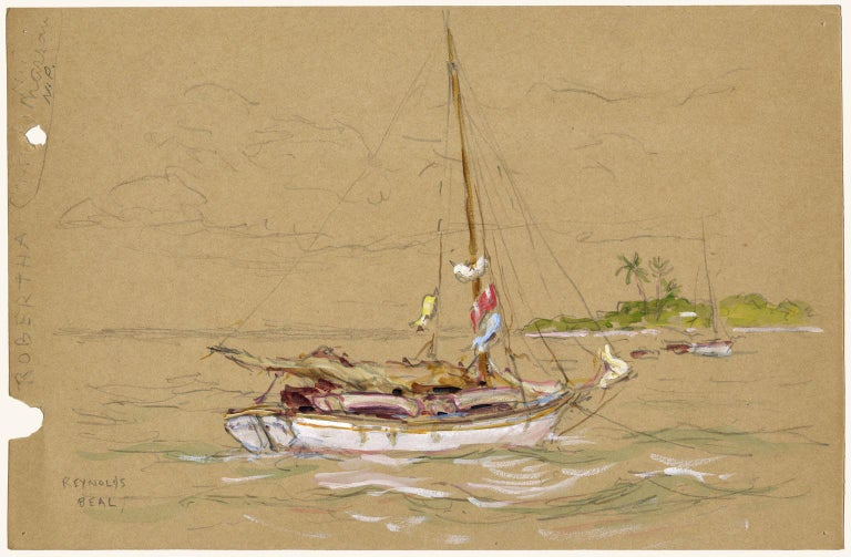 Robertha, Nassau, N. P. [New Providence]. - American Impressionist Mixed Media Art by Reynolds Beal