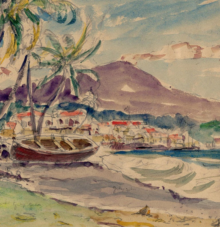 """""""JACMEL, HAITI, Mar. 13, 1923"""" is a watercolor and pencil drawing on paper from circa 1923.  The paper size 8 3/4 x 11 1/16"""