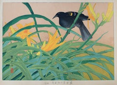 Yellow Daylily and African Black Bird