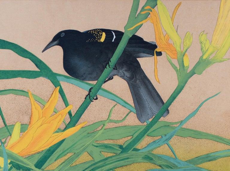 Yellow Daylily and African Black Bird - Showa Print by Tsuchiya Rakusan
