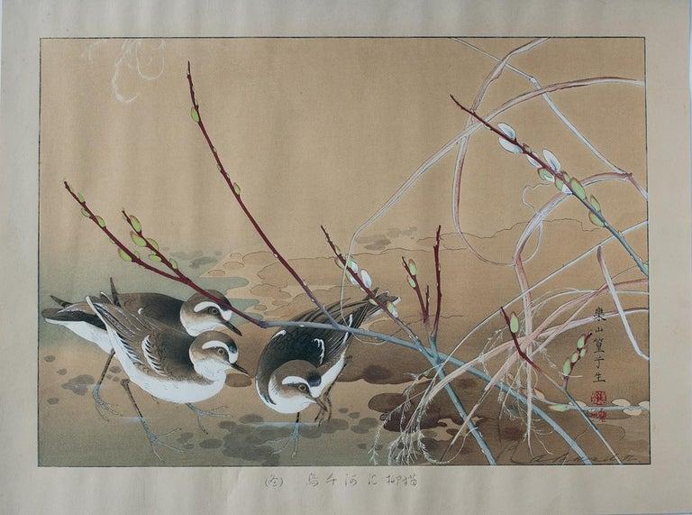 River Plovers and Pussy Willow - Brown Animal Print by Tsuchiya Rakusan