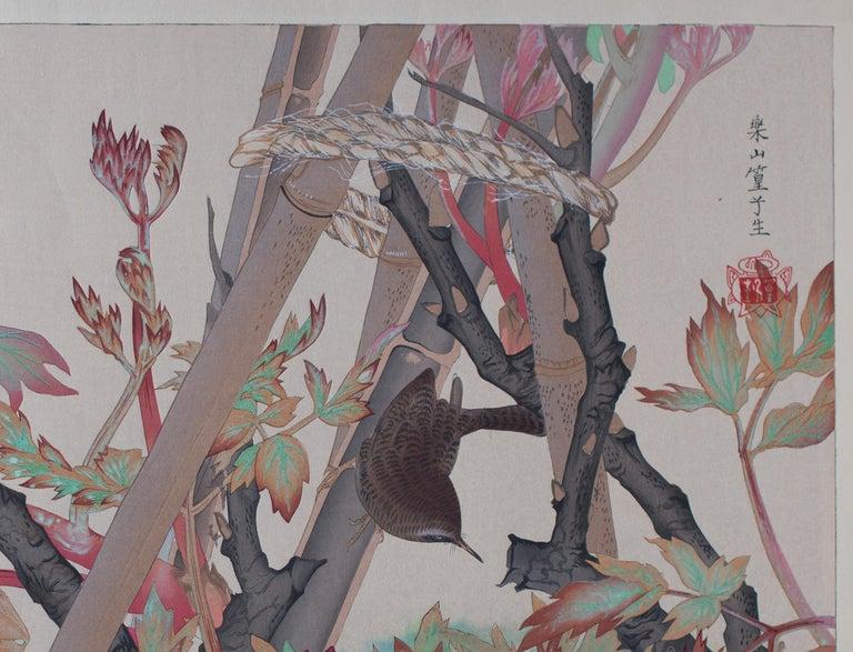 Winter Wren and Peonies - Showa Print by Tsuchiya Rakusan