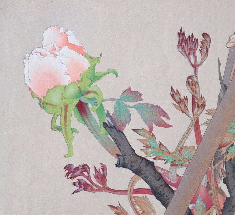 Winter Wren and Peonies - Print by Tsuchiya Rakusan
