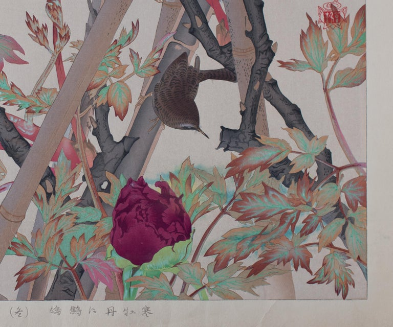 """Winter-blooming Tree-Peony and Winter Wren. Number 11 in Rakusan's finest bird-and-flower series. The Japanese title may be translated """"Winter-blooming Tree-peonies and Wren (Winter)"""" {Kan botan ni misosazai (fuyu)}. A sophisticated composition, we"""