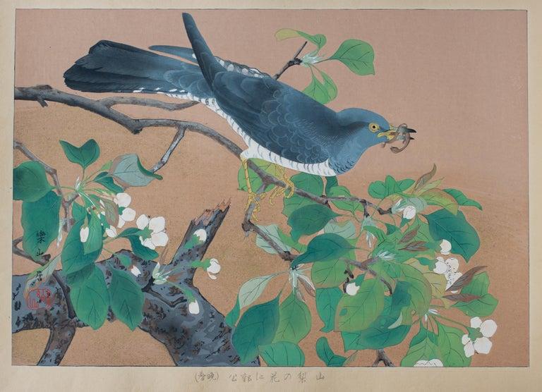 Tsuchiya Rakusan Animal Print - Cuckoo and Wild Pear Flowers