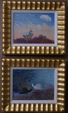 A Pair of Paintings of Snails