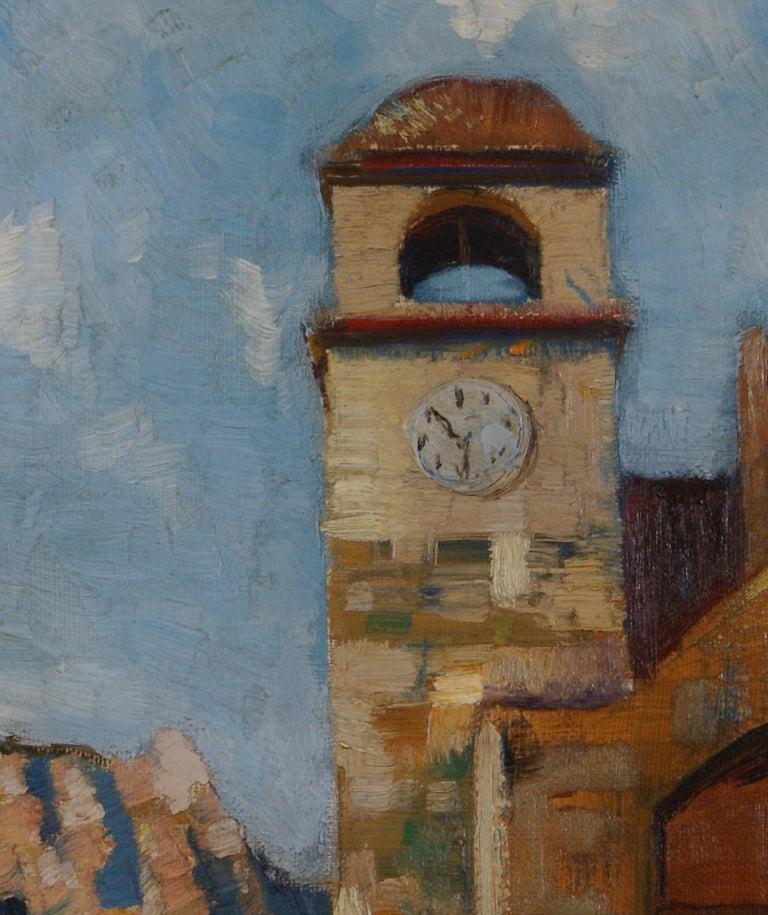 Clock Tower in Capri - Black Landscape Painting by R. Van Cleave