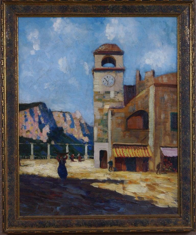R. Van Cleave Landscape Painting - Clock Tower in Capri