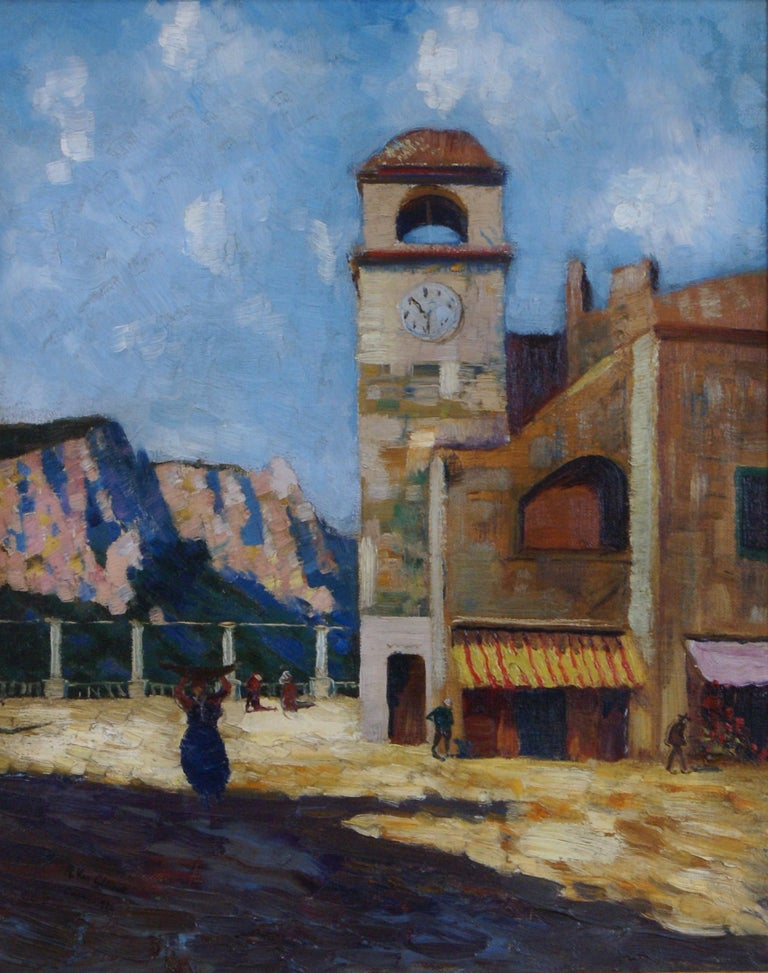 Clock Tower in Capri - Painting by R. Van Cleave