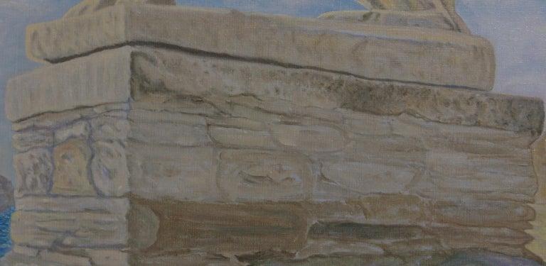 Lion of Delos - Gray Landscape Painting by Freeman Baldridge