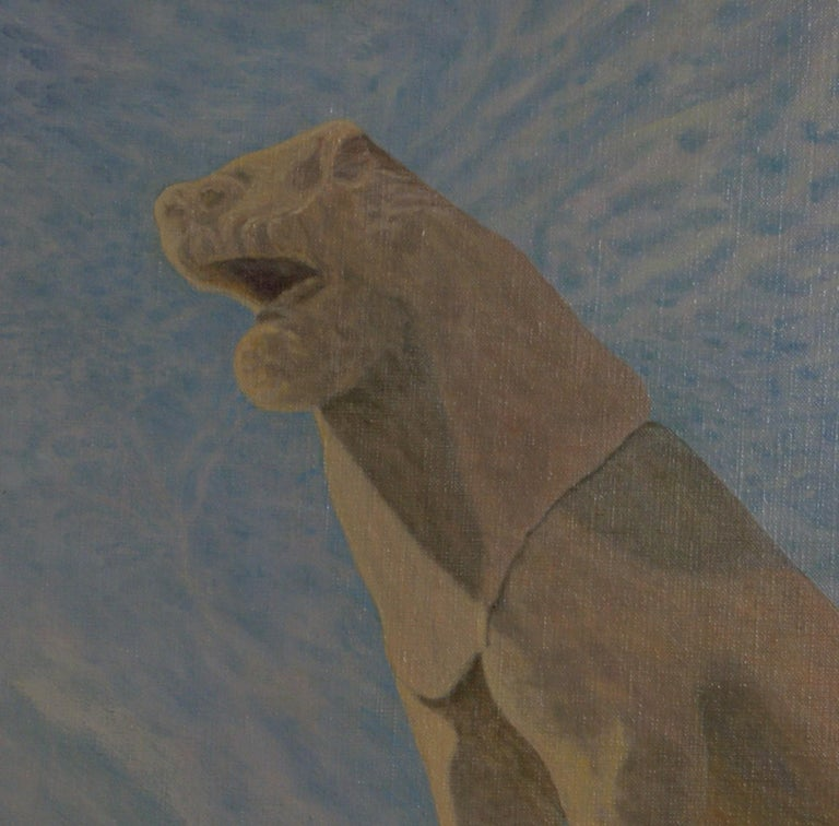 Oil on canvas of one of the lions from The Terrace of the Lions, Delos, Greece. Canvas measures 30 x 25; frame dimensions are 38 3/8 x 33 3/8 x 1 5/8. Artist's initials and date, lower right. Weight is 14 3/4 pounds. The Terrace of the Lions was