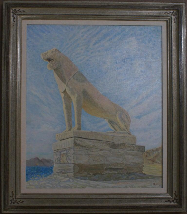 Freeman Baldridge Landscape Painting - Lion of Delos