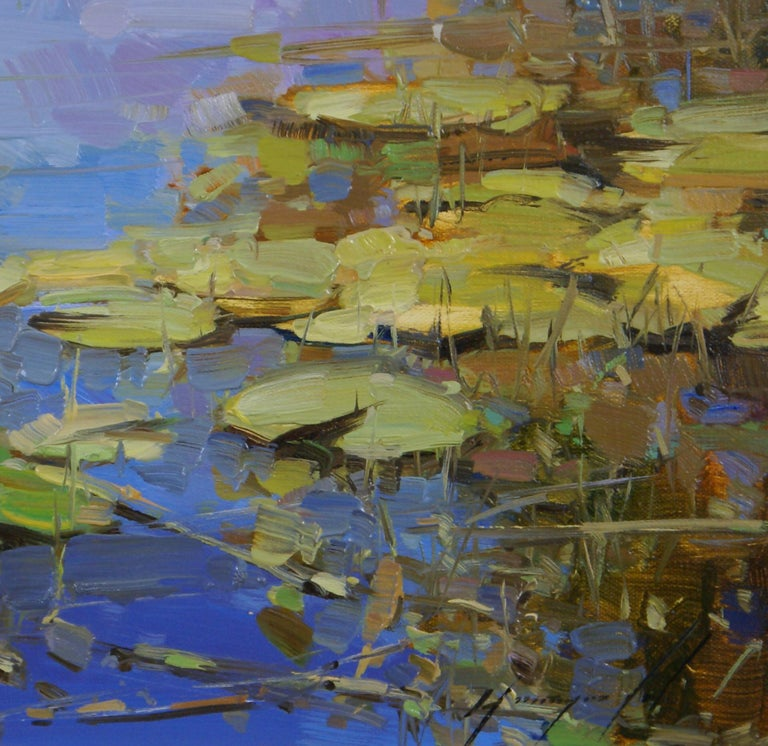 Water Lilies Pond - Brown Landscape Painting by Vahe Yeremyan