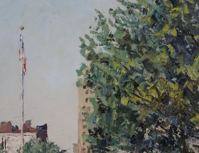 Peter Hayward's depiction of Sheridan Square, in the heart of Greenwich Village, New York City. Oil on canvas measures 20 1/8 x 24; frame dimensions measure 24 5/8 x 28 5/8 x 2. Artist's signature, lower left. The painting is housed in a decorative