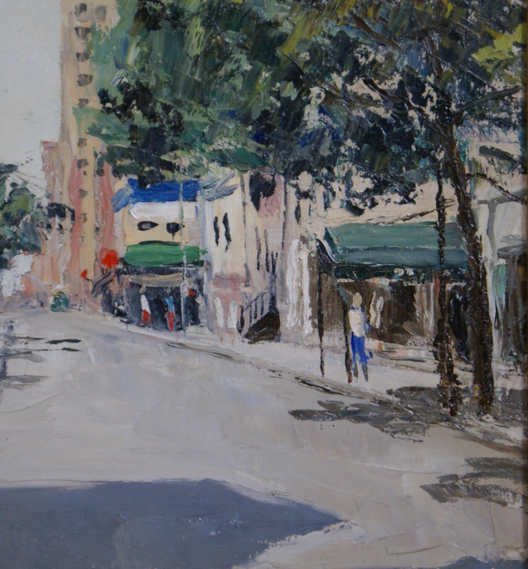 Sheridan Square - Black Landscape Painting by Peter Hayward