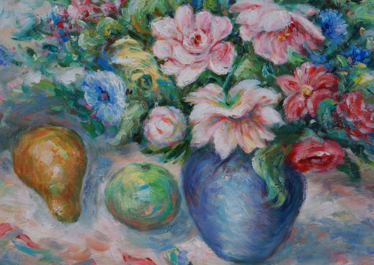 Pair of Floral Still Life Paintings For Sale 9