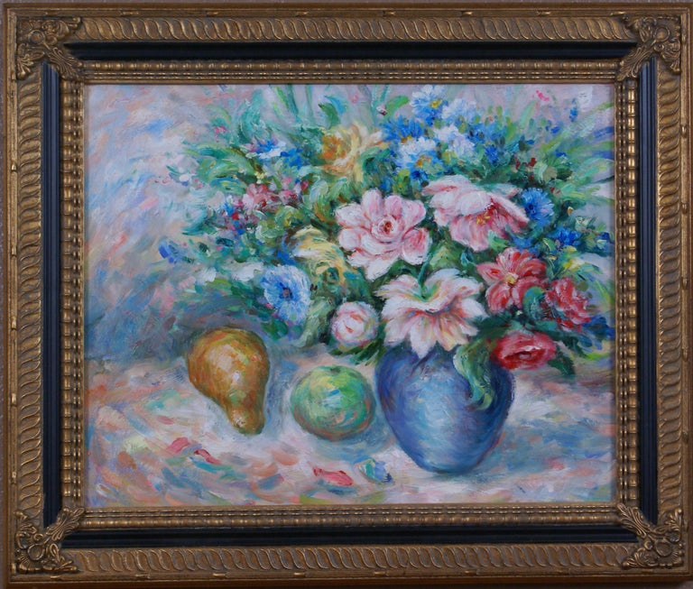 Pair of Floral Still Life Paintings For Sale 4