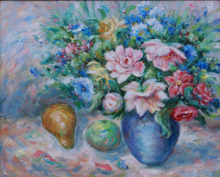 Pair of Floral Still Life Paintings For Sale 5